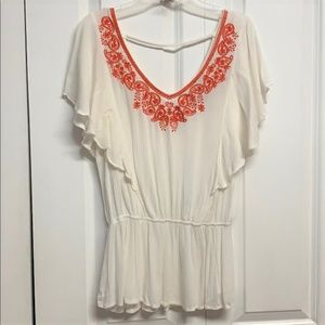 Forever 21 Blouse Size S Embroidered Paisley